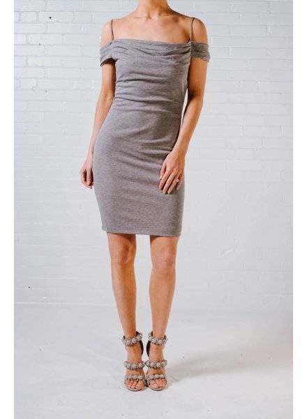 Midi Washed grey cold shoulder midi
