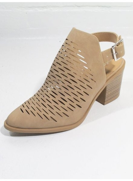 Bootie Perforated open back bootie with ankle strap