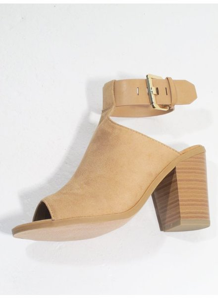 Wedge Camel stacked open toe mule