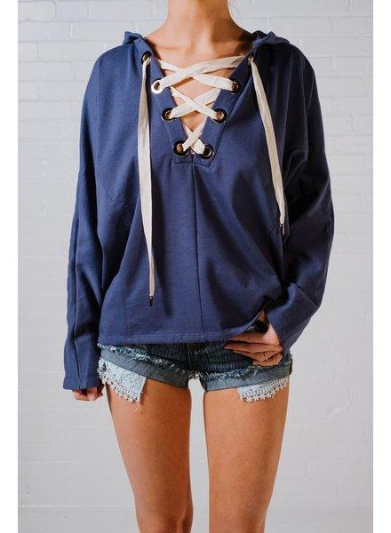 Sweatshirt Blue lace up hoodie