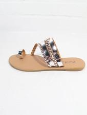 Sandal Silver metallic braided sandal