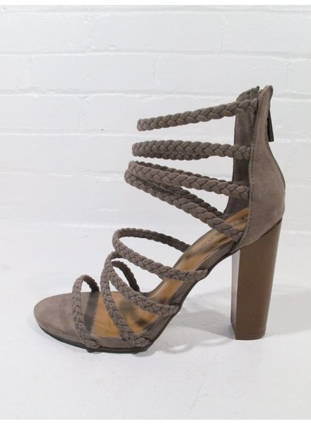 Pump Taupe strappy braided stacked heel