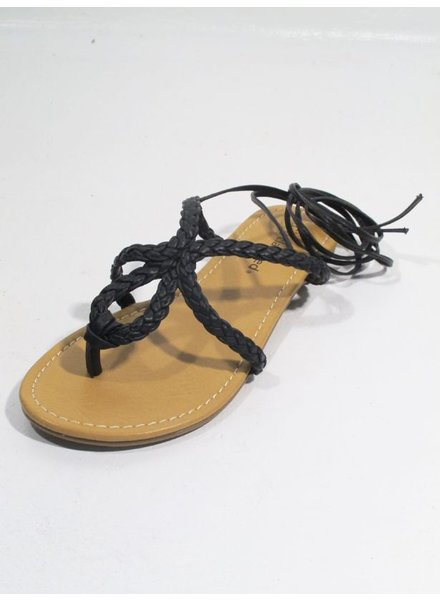 Sandal Black braided flat sandal
