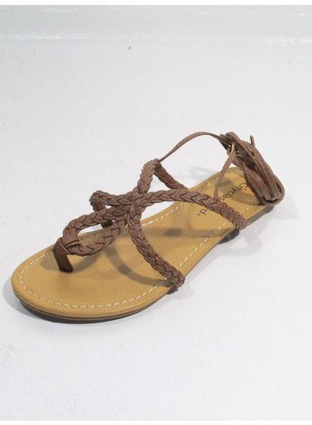 Sandal Tan braided flat sandal