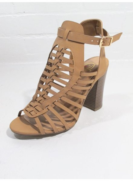 Pump Camel leather strappy covered sandal
