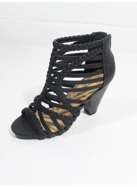 Pump Black braided stacked heel