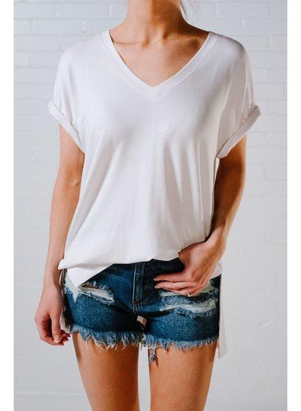 T-shirt White oversized v-neck tee