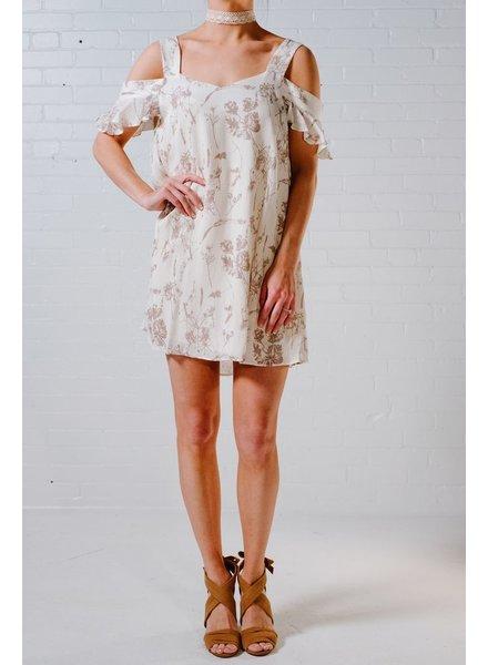Mini Ivory floral cold shoulder ruffle dress