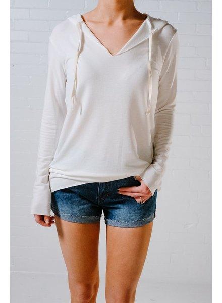 Sweatshirt Ivory raw edge hoodie