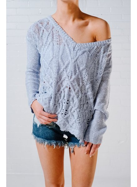 Sweater Baby blue fray hem hangy knit *BACK IN STOCK!
