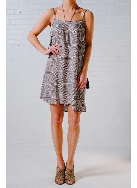 Mini Grey boho print mini dress