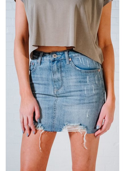 Skirt Destroyed denim mini