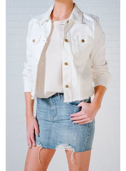 Lightweight White cropped denim jacket