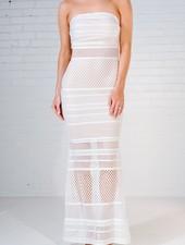 Midi White mesh strapless maxi