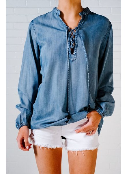 Blouse Denim lace up blouse
