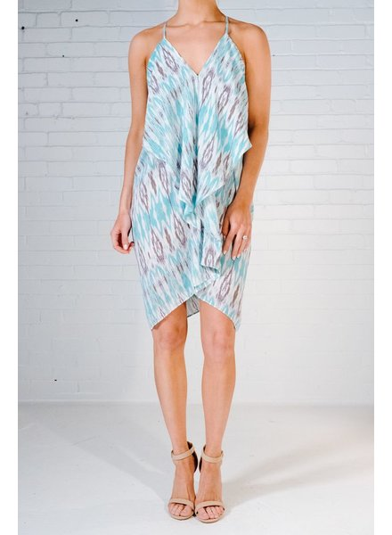 Mini Turquoise watercolor ruffle dress