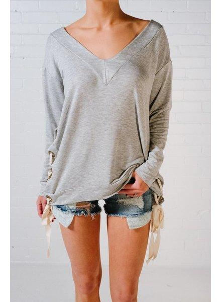 Sweatshirt Grey side lace v-neck