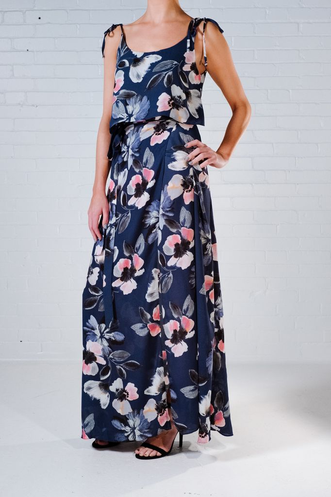 Maxi Blue floral maxi skirt *MATCHING TOP SOLD SEPARATELY ...