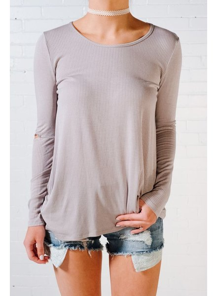 T-shirt Grey elbow slit tee
