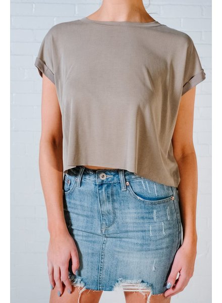 T-shirt Olive cropped t