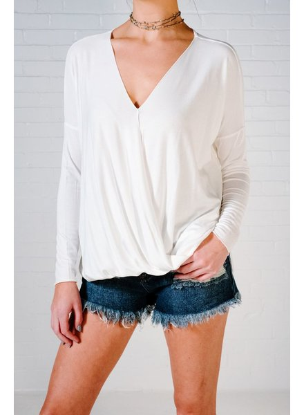 Blouse Ivory cross front blouse