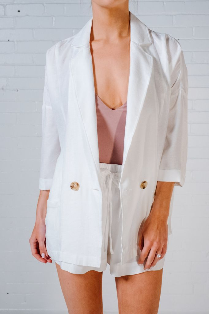 Lightweight Ivory drapey blazer *MATCHING SHORTS SOLD SEPARATELY