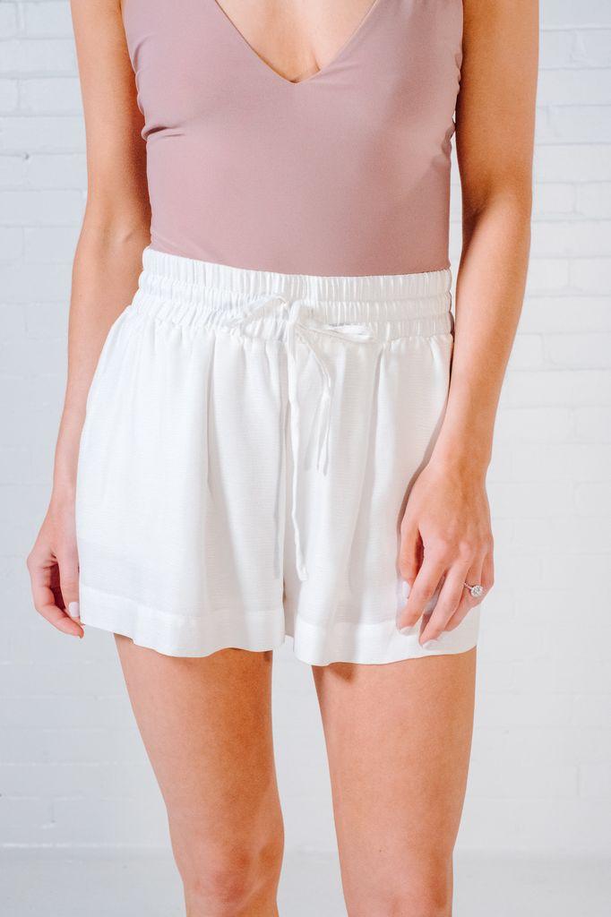 Shorts Ivory high waisted drawstring shorts *MATCHING BLAZER SOLD SEPARATELY