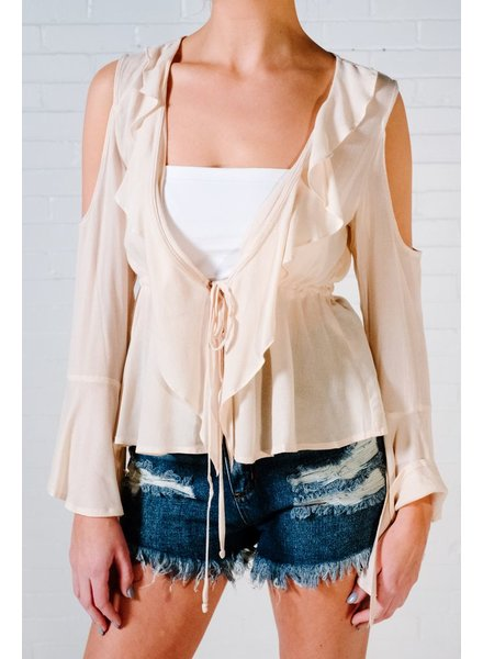 Blouse Cream ruffle tie front blouse