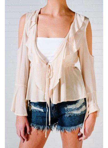 Blouse Cream ruffle tie front blouse