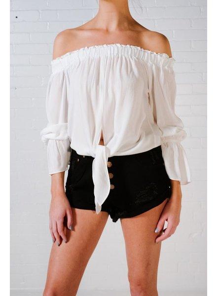 Blouse White OTS tie front blouse