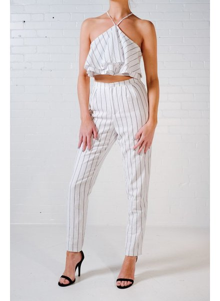 Crop Pin stripe ruffle top *MATCHING PANTS SOLD SEPARATELY