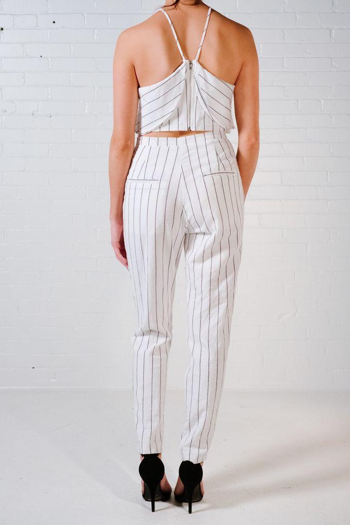 Crop Pin stripe ruffle top *MATCHING PANTS SOLD SEPARATELY