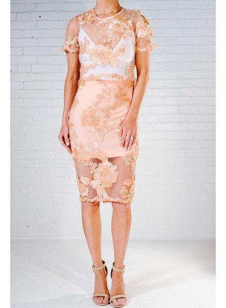 Skirt Peach floral mesh shirt