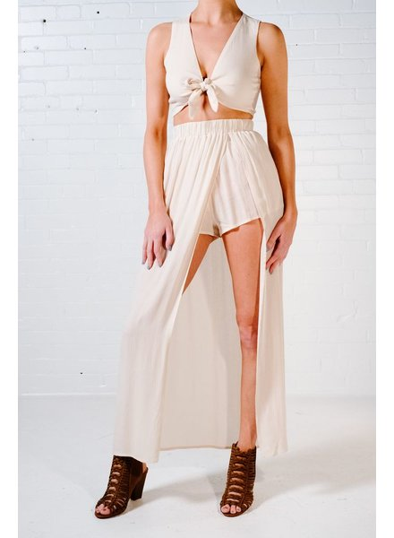 Crop Beige tie front cop *MATCHING BOTTOM SOLD SEPARATELY