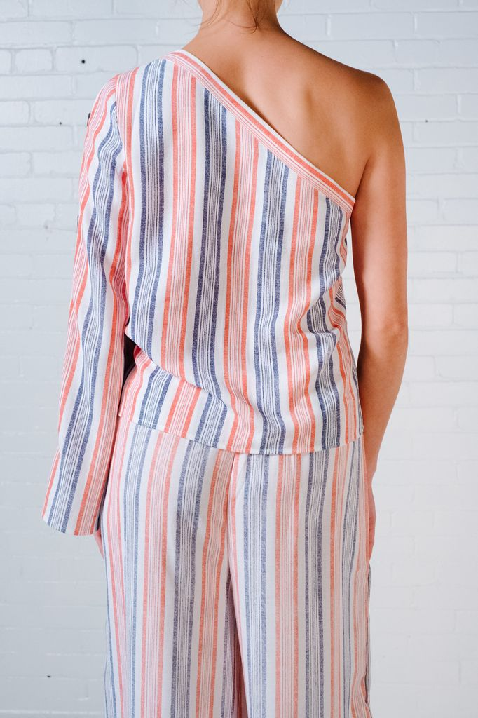 Blouse Striped one shoulder top *MATCHING PANTS SOLD SEPARATELY