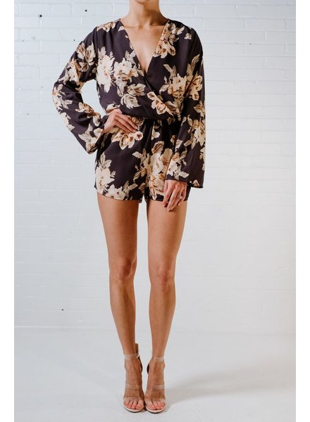 Casual Navy floral wrap romper