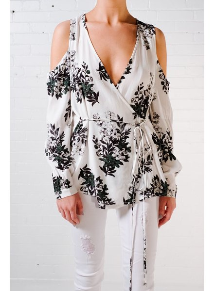 Blouse Floral cold shoulder wrap blouse