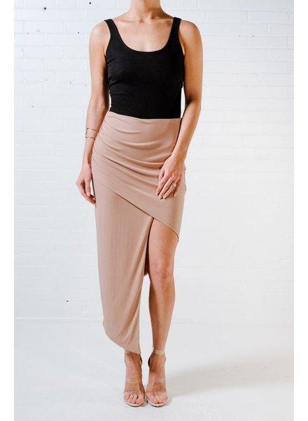 Skirt Taupe drape front skirt