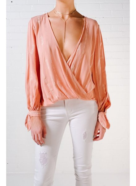 Blouse Peach embroidered blouse