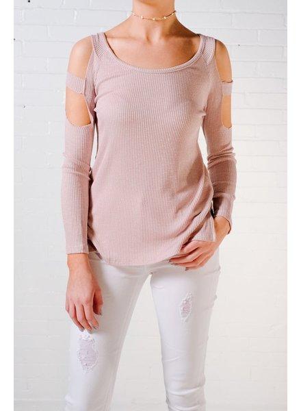 T-shirt Rose rib knit cold shoulder top