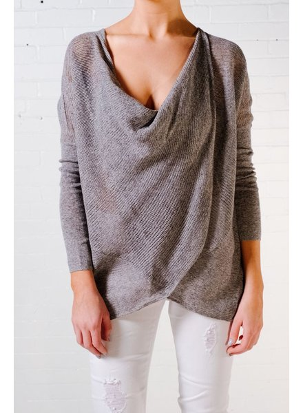 Sweater Charcoal cross front knit