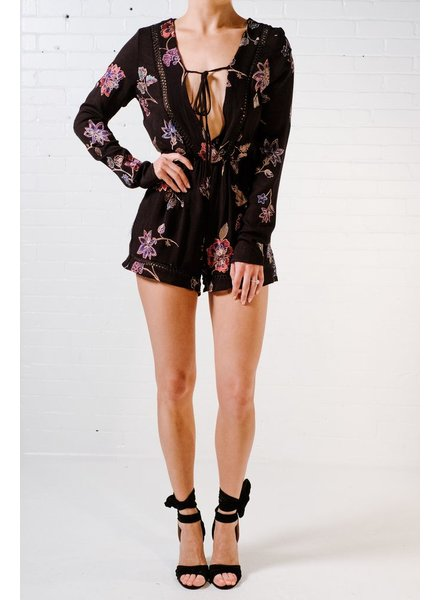 Casual Black embroidered romper