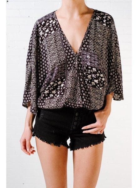 Blouse Black and whtie wrap top