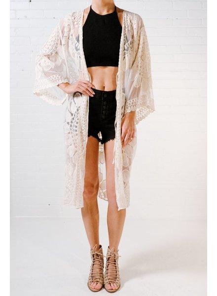Cardigan Ivory lace kimono