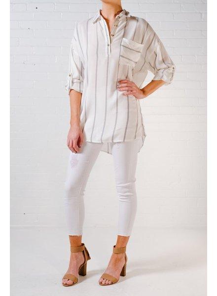 Blouse Striped side button blouse