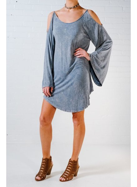 Mini Sky blue jersey cold shoulder dress