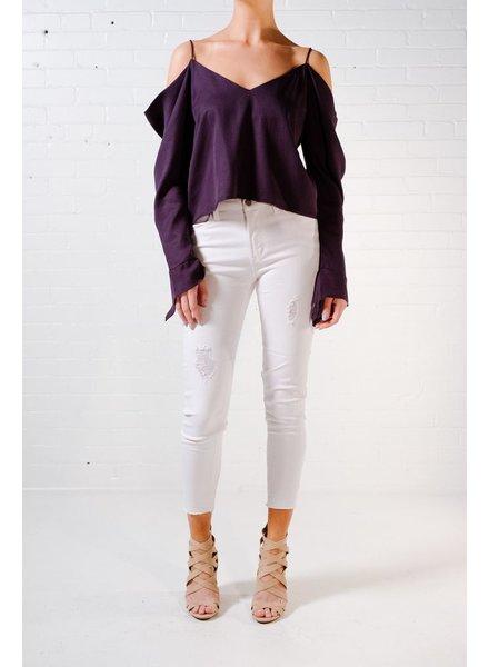 Blouse Navy cold shoulder blouse