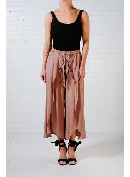 Pants Mocha tie front culottes