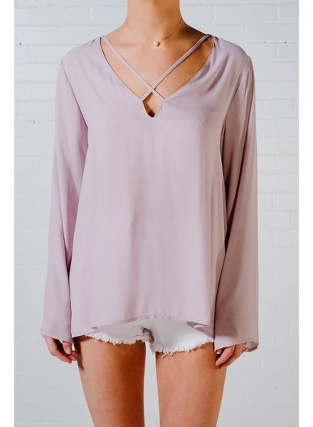 Blouse Mauve cross strap blouse