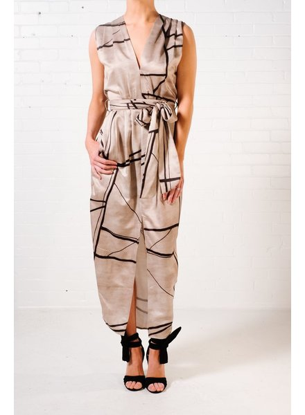 Maxi Abstract print wrap dress